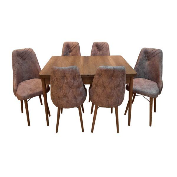 Set-masa-living-extensibila-Aris-Walnut-Wood-cu-6-scaune-Maro
