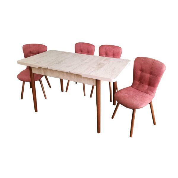 masa-aris-alb-4-scaune-roz-inchis