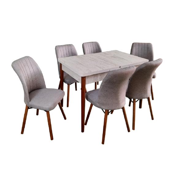 masa-aris-alb-6-scaune-kare-gri